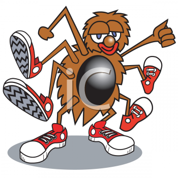 Cartoon Spider Wearing Sneakers Clip Art