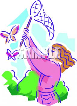 Girl Catching Butterflies with a Net Clip Art