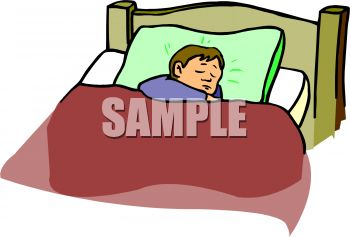 Child Asleep in His Bed Clip Art