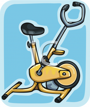 Yellow Stationary Exercise Bike Clipart