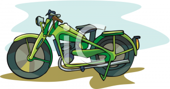 Old,  Military Style Motorcycle Clipart