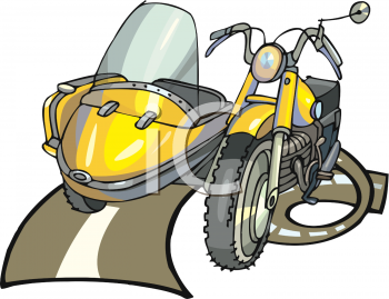 Motorcycle with a Sidecar Clipart