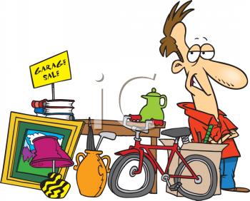 Man Having a Garage Sale Clipart