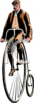 Man Riding a Penny Farthing Bicycle Clip Art