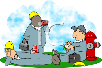 Worker Taking a Lunch Break Clipart