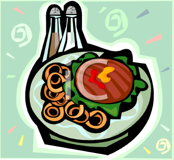 Burger and Onion Rings Meal Clip Art