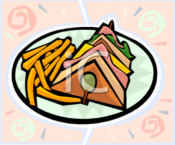 Club Sandwich and Fries Clip Art