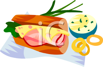 Ham and Swiss on a Hoagie Roll Clipart