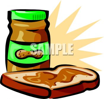 Jar of Peanut Butter and a Slice of Bread Clip Art