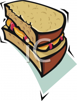 Half of a Peanut Butter and Jelly Sandwich Clipart