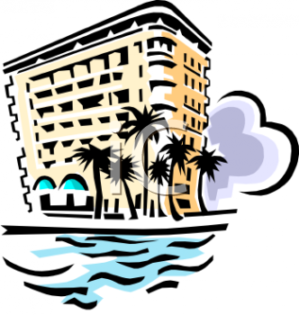 Vintage Hotel By The Ocean Clip Art
