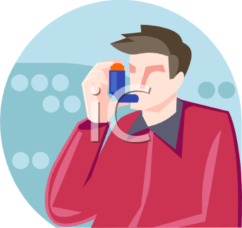 Man Using an Inhaler for His Asthma - Royalty Free Clip Art Picture