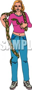 Woman Holding a Large Snake
