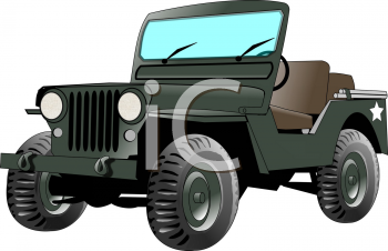 Realistic Military Jeep Clip Art