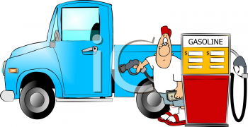 Cartoon of a Man Filling His Truck With Gas Clip Art