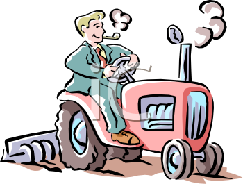 City Man, Wearing a Suit, Driving a Tractor Clip Art