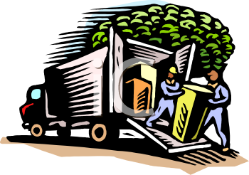 Movers Unloading a Truck Clip Art