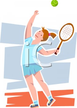 Teenaged Girl Playing Serving a Tennis Ball