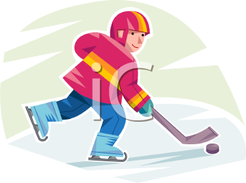 Teen Boy Playing Ice Hockey