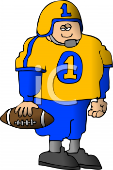 Cartoon of a Chunky Football Player Wearing His Jersey