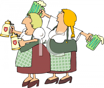 Two German Women Serving Beer on Oktoberfest Clipart