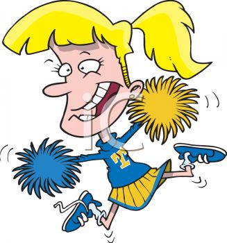 cartoon cheerleader with pom poms - royalty free clip art picture