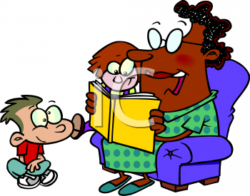 African American Nanny Reading to The Children Clip Art