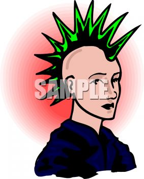 Green Mohawk on a Punk Clip Art