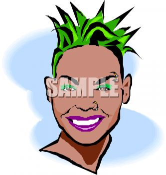 Black Punk Chick with Green Hair Clip Art