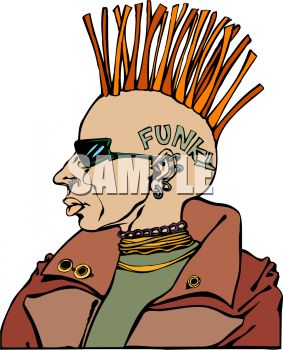Extreme Punk Rocker With a Mohawk Clip Art