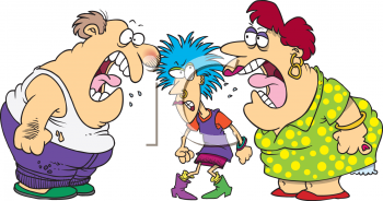 Cartoon Parents Yelling at Their Punk Teen Clip Art
