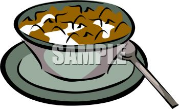 Flake Cereal in a Bowl of Milk Clip Art