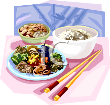Asian Meal of Stir Fry and Rice Clip Art