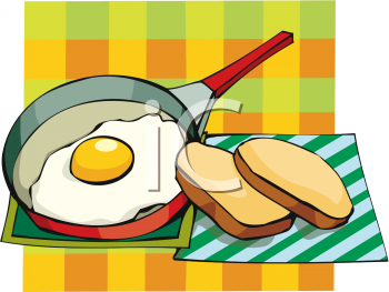 Fried Egg in the Pan with Toast Slices