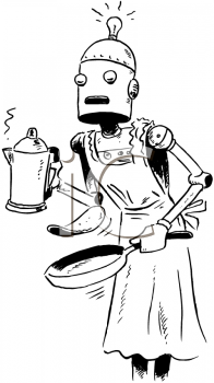 Vintage Robot Maid Making Breakfast Clip Art - Royalty Free ...