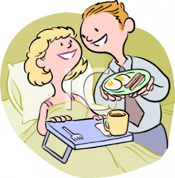 Man Serving His Wife Breakfast in Bed Clip Art