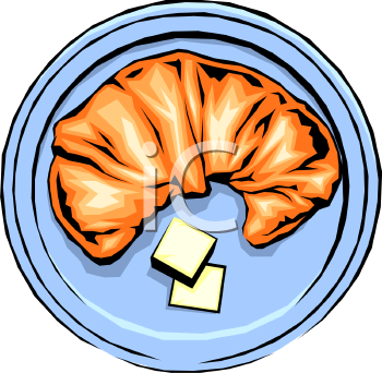Croissant with Butter Clip Art - Royalty Free Clipart Illustration