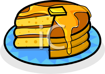 Butter Melting Down a Stack of Pancakes Clipart