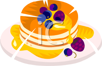 Pancakes with Berries Clip Art