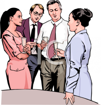 Group of Office Employees Celebrating with Champagne Clip Art