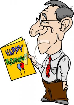 cartoon man reading a retirement card royalty free clipart picture rh clipartguide com happy retirement clipart images happy retirement clip art free