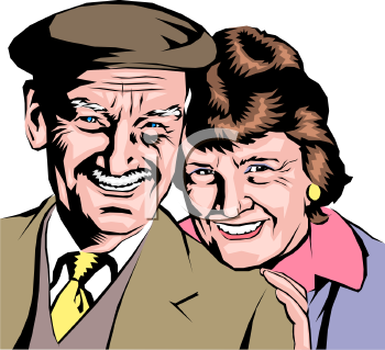 Realistic Elderly Couple Clip Art