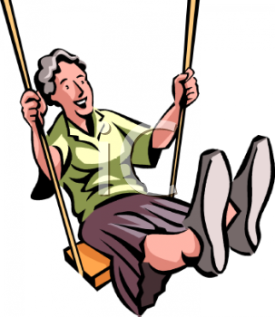 Old Lady Swinging Clip Art