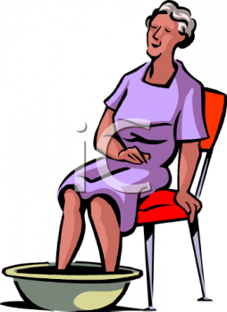 Old Woman Soaking Her Feet Clip Art