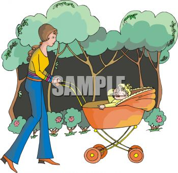 Mother Walking in the Park with Her Child
