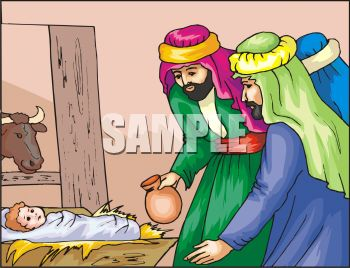 Jesus and the Three Wise Men in the Manger