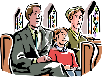 Family Sitting in Church