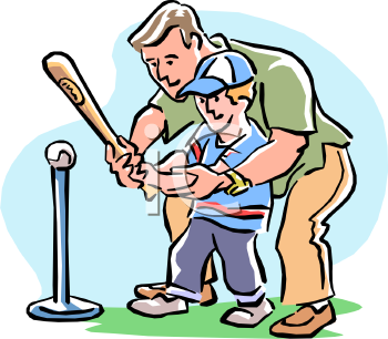 man teaching his son to play t ball royalty free clip art image rh clipartguide com  tball clipart frame