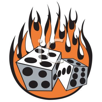 "This ""flaming dice, retro tattoo design"" clipart image can be licensed as"