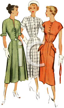 Dress Ad Showing Three Lady Models-1940's